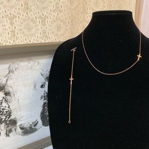 925 Rosetone Cross Necklace & Bracelet